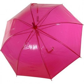 Parapluie transparent fuchsia automatique