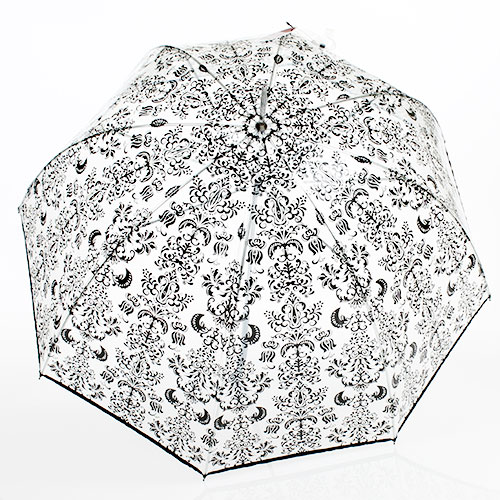 Parapluie transparent motif arabesque noir