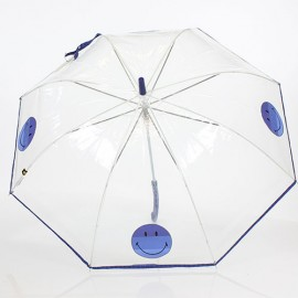 Parapluie transparent Smiley bleu