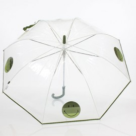 Parapluie transparent Smiley vert