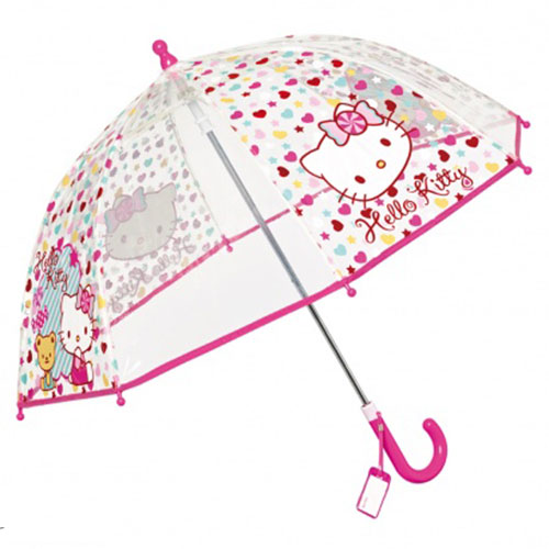 Parapluie Hello Kitty transparent enfant rose