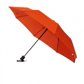 Parapluie pliant automatique orange à pois