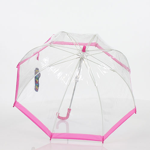 Parapluie enfant cloche transparent bordure rose
