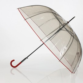 Grand parapluie transparent noir et rouge