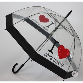 parapluie cloche transparent I love côte d'azur