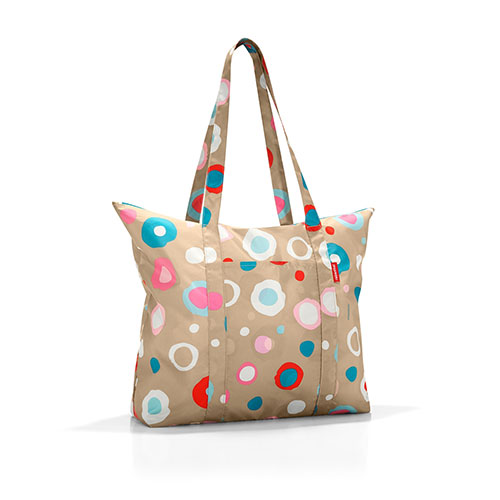 sac shopping beige à pois multicolores