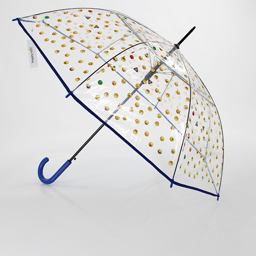 Grand parapluie transparent emoticones bleu