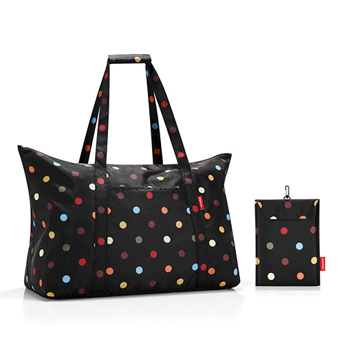 sac shopping pliable noir et pois multicolores