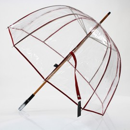 Parapluie transparent cloche made in france ganse rouge