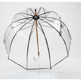Parapluie transparent cloche made in france ganse noire