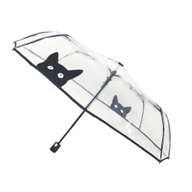Petit parapluie pliant transparent chat