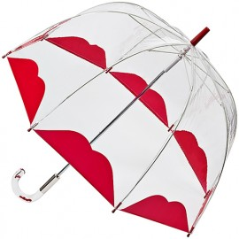 Parapluie cloche transparent lèvres rouges