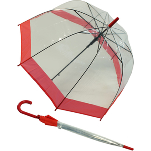 Parapluie cloche transparent bord rouge