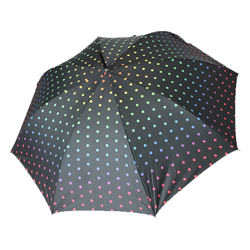 Grand parapluie automatique noir et pois multicolores