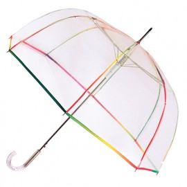 Grand parapluie cloche transparent liseré multicolore