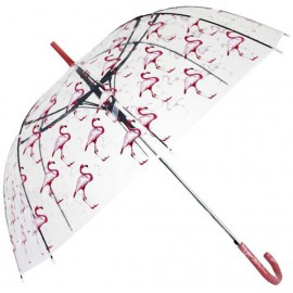Parapluie cloche transparent flamants roses