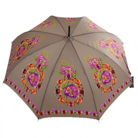 Grand parapluie marron glacé imprimé satin