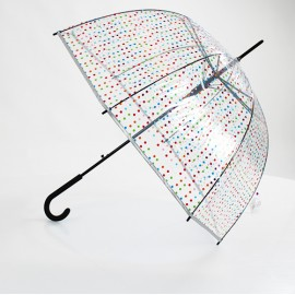 Parapluie transparent cloche pois multicolores Benetton