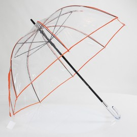 Grand parapluie cloche transparent galon orange