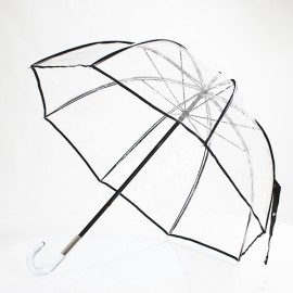 Grand parapluie cloche transparent bord noir