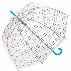 Grand parapluie transparent cloche Esprit logos multicolores