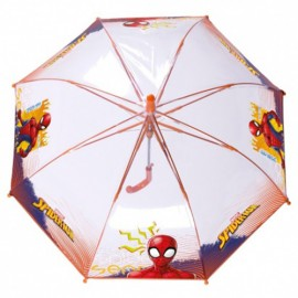 Parapluie enfant Spiderman transparent baleines rouges