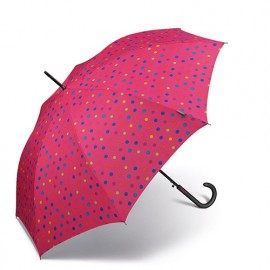 Parapluie long rose Benetton a pois multicolores