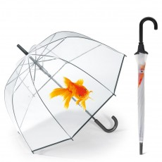 Parapluie cloche transparent poisson rouge