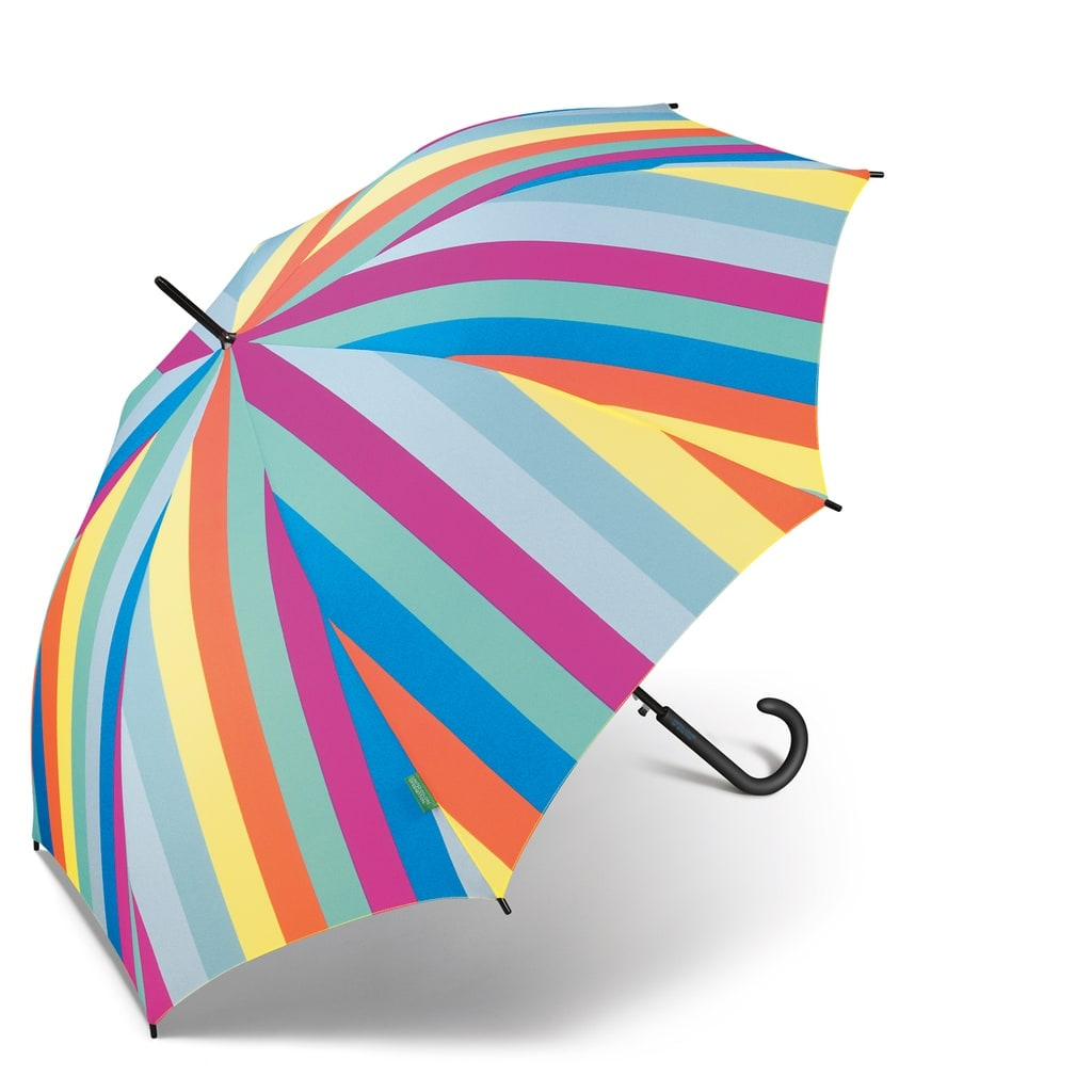 Parapluie long Benetton motif arc en ciel