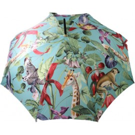 Parapluie canne Jungle tropicale fond menthe