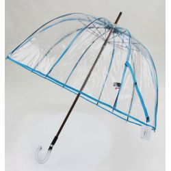 Parapluie transparent cloche made in france ganse turquoise